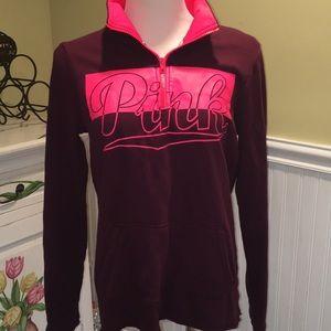 Pink Collared Zip Sweatshirt